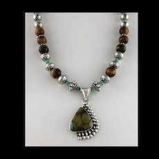 White Fox Creation: Turquoise, Moss Opal and Tiger Eye Necklace