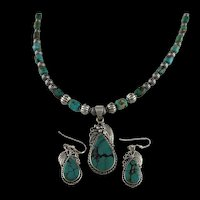 White Fox Creation: Sterling and Turquoise Necklace and Earring Set