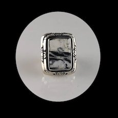 Sterling and White Buffalo Ring by Melissa Yazzie