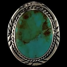 Navajo Sterling and Easter Blue Turquoise Ring  Size 9
