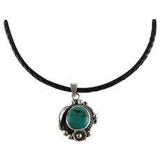 White Fox Creation: Sterling and Turquoise Pendant on Leather Choker