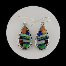 Sterling and Opalite Inlay Earrings by Melissa Yazzie