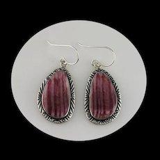 Navajo Sterling and Rhodochrosite Earrings
