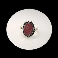 Navajo Sterling and Rhodochrosite Ring  Size 8