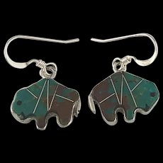 Sterling and Turquoise Buffalo Earrings