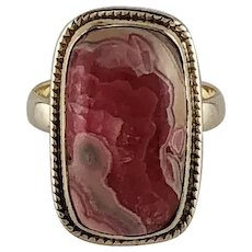 Hand Made Sterling and Rhodochrosite Ring  Size 8 3/4