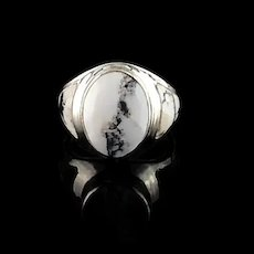 Sleek Native American Sterling and White Buffalo Ring  Size 8 1/2