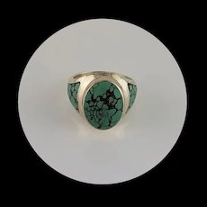 Sleek Native American Sterling and Turquoise Ring Size 8 1/2
