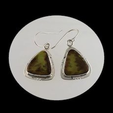 Sterling and Gaspeite Earrings by Richard Kee