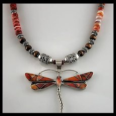 Native American Sterling and Spiny Oyster Inlay Dragonfly Necklace