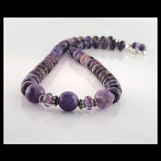 White Fox Creation: Charoite and Amethyst Necklace