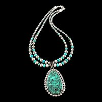 White Fox Creation Turquoise and  Argentium Sterling Necklace