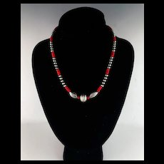 White Fox Creation: Sterling Navajo Pearl and Coral Necklace