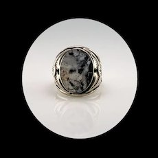 Navajo Sterling and White Buffalo Men's Ring   Size 9