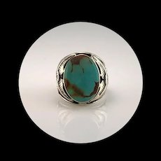 Navajo Sterling and Pilot Mountain Turquoise Men's Ring   Size 8 3/4