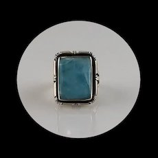 Navajo Sterling and Larimar Ring Size 8 1/4