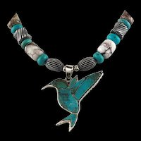 White Fox Creation: Sterling and Turquoise Hummingbird Necklace
