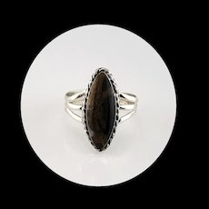 Navajo Sterling and Petrified Peanut Wood Ring  Size 10 1/4