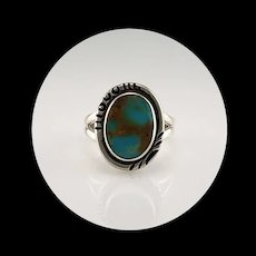 Navajo Sterling and Pilot Mountain Ring  Size 7 1/2