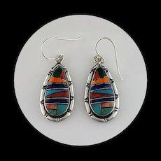 Multi Stone Inlay Earrings by Melissa Yazzie