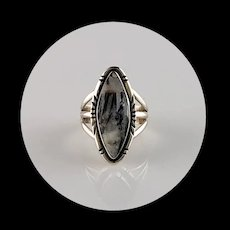 Navajo Sterling and White Buffalo Ring Size 6 1/2