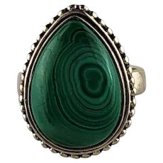 Hand Made Sterling and Malachite Ring  Size 5 1/2