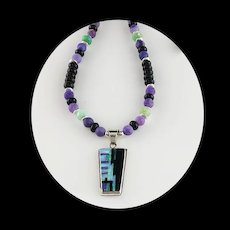 White Fox Creation: Purple Opalite and Chevron Amethyst Necklace