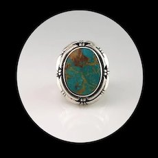 Navajo Sterling and Pilot Mountain Turquoise Ring Size 8 1/2