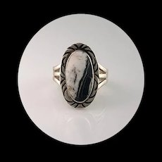 Navajo Sterling and White Buffalo Ring Size 8 1/2