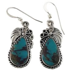 Navajo Sterling and Kingman Turquoise Earrings by Tom Ronal