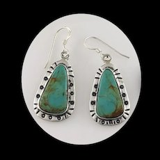 Sterling and Pilot Mountain Turquoise Earrings by Melissa Yazzie