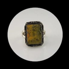 Navajo Sterling and Bumblebee Jasper Ring Size 8 1/2