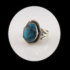 Navajo Sterling and Turquoise Ring  Size 6 3/4