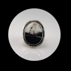 Navajo Sterling and White Buffalo Ring Size 8
