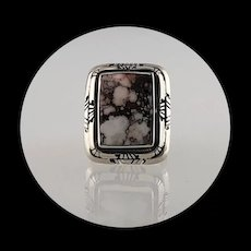 Navajo Sterling & Wild Horse Magnesite Ring Size 8