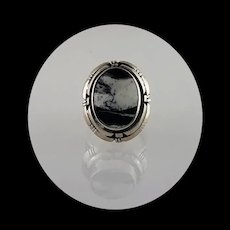 Navajo and White Buffalo Ring by Melissa Yazzie Size 8 1/2