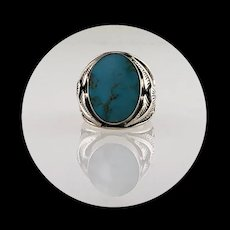 Navajo Sterling and Turquoise Men's Ring Size 8 3/4