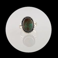 Navajo Sterling and Turquoise Button Ring Size 7 3/4
