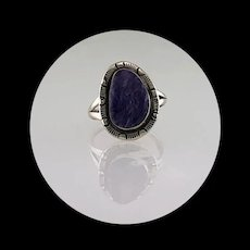 Sterling and Charoite Ring by Navajo Artist Richard Kee  Size 8