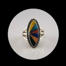 Native American Multi Stone Inlay Ring  Size  7 3/4