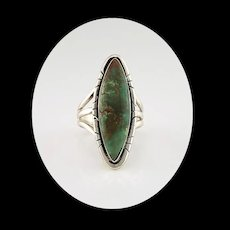 Long Slender Sterling and Royston Turquoise Ring