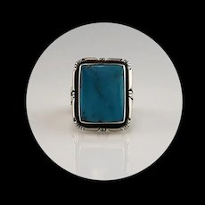 Navajo Sterling and Kingman Turquoise Ring  Size 7 3/4