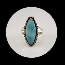 Navajo Sterling and Larimar Ring Size 7 1/2