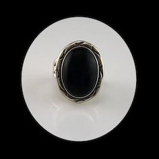 Navajo Sterling & Onyx Ring  Size 6