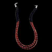 White Fox Creation: Tri-Color Coral and Lapis Lazuli Necklace