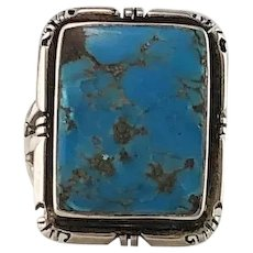 Navajo Sterling and Kingman Turquoise Ring Size 6 1/2