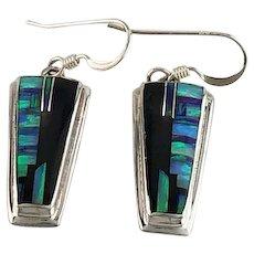 Native American Onyx and Opalite Inlay Earrings