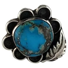 Old Navajo Sterling and Turquoise Blossom Ring  Size 6