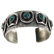 Navajo Sterling and Turquoise Horseshoe Bracelet