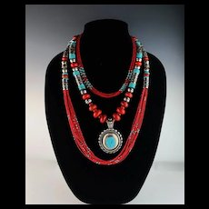 White Fox Creation: Turquoise and Coral Necklace Set